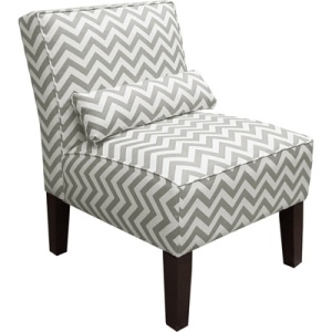 Armless Upholstered Accent Chair - Gray and White Zig Zag$129.99