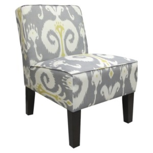 Armless Upholstered Slipper Accent Chair-Grey & Gold Ikat $110.00